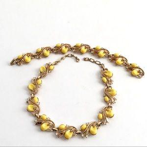 Crown Trifari Bracelet & Necklace Set Yellow